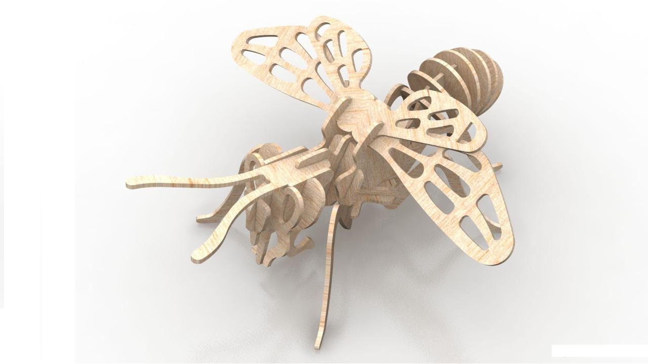 Bee 6mm Wood Insect 3d Puzzle Free DXF File