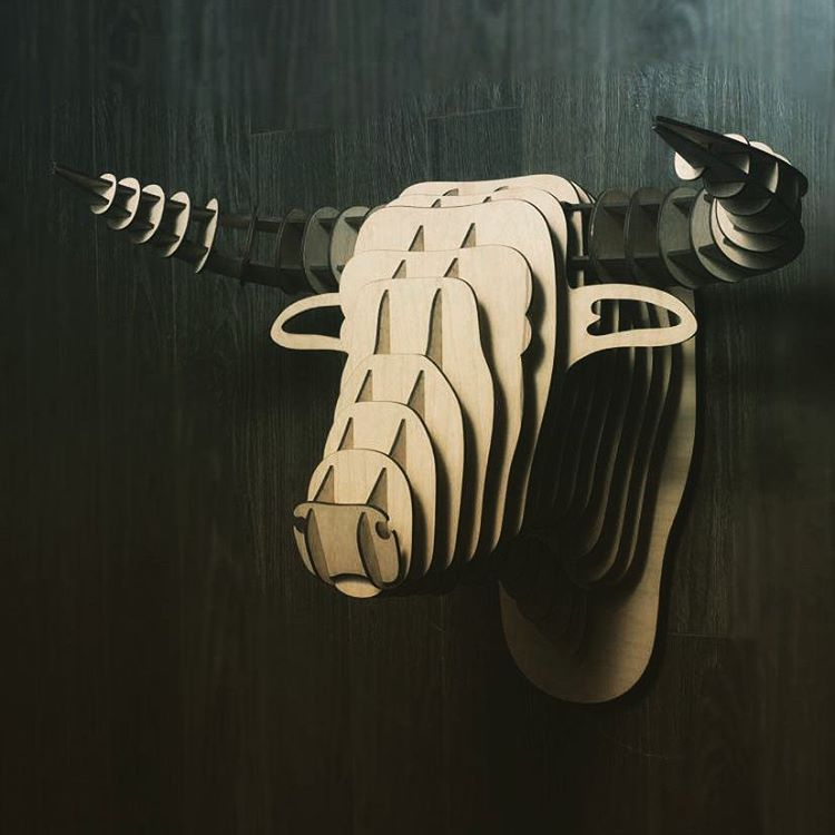 Laser Cut Bull Head 3d Puzzle Wall Decor Free DXF File