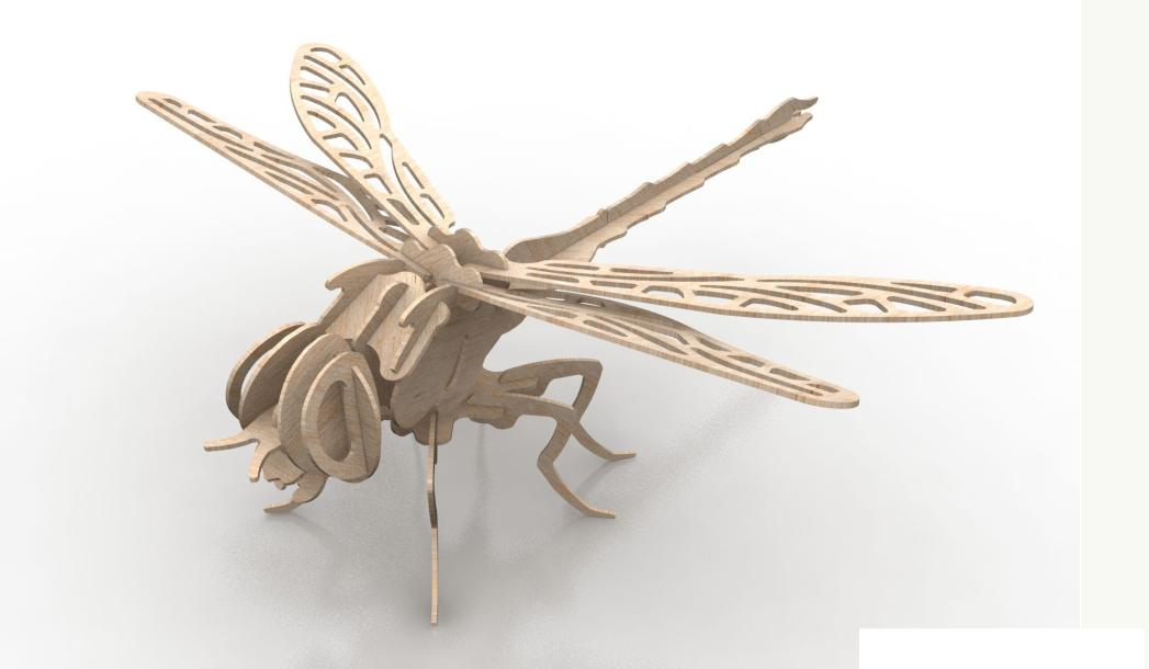 Dragonfly 3d Puzzle 1.5mm Free DXF File