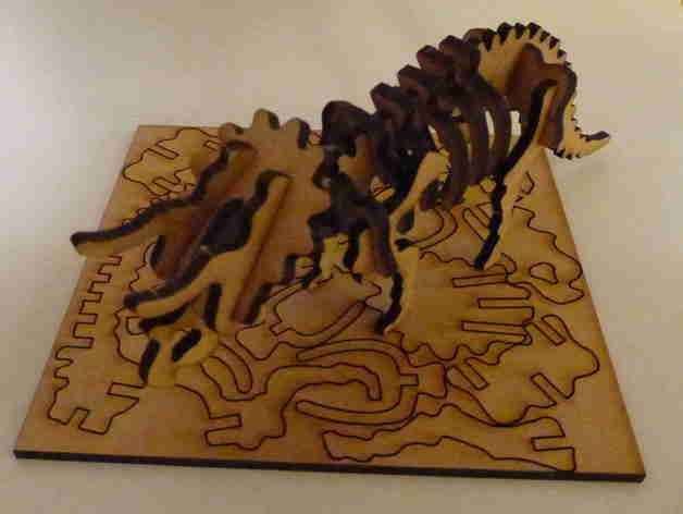 Lasercut Triceratops Skeleton Puzzle Free DXF File