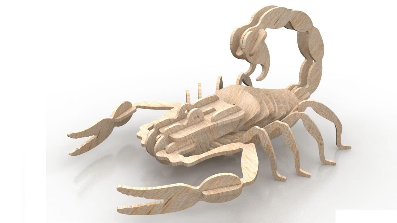 Scorpion 3d Wooden Puzzle 1.5mm Free DXF File