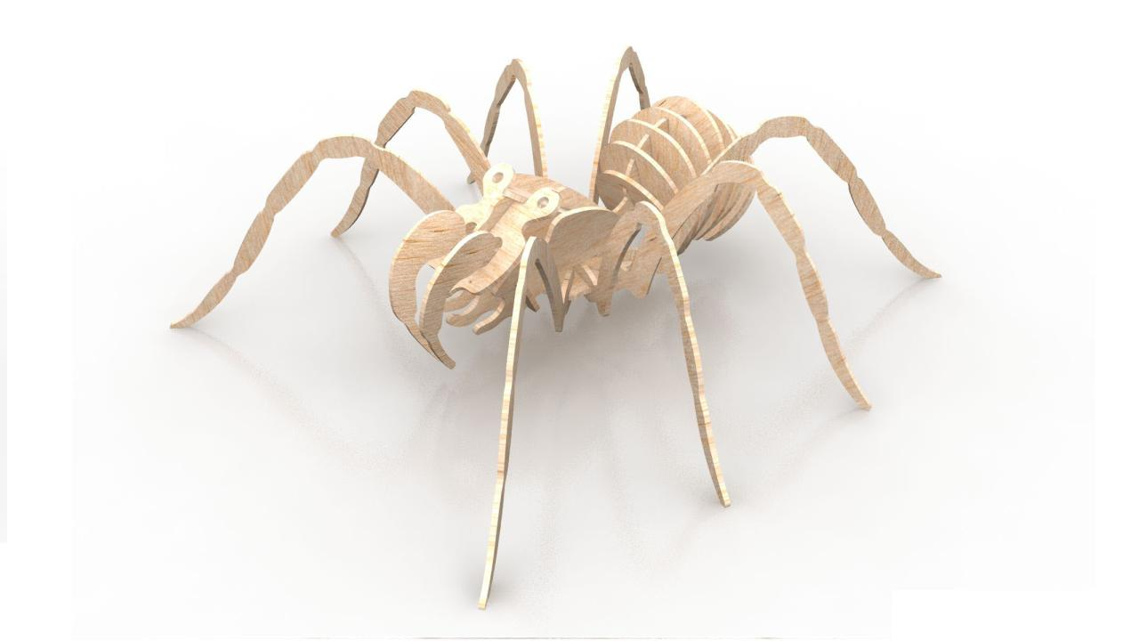 Spider 1.5mm Insect 3d Wood Puzzle Free DXF File