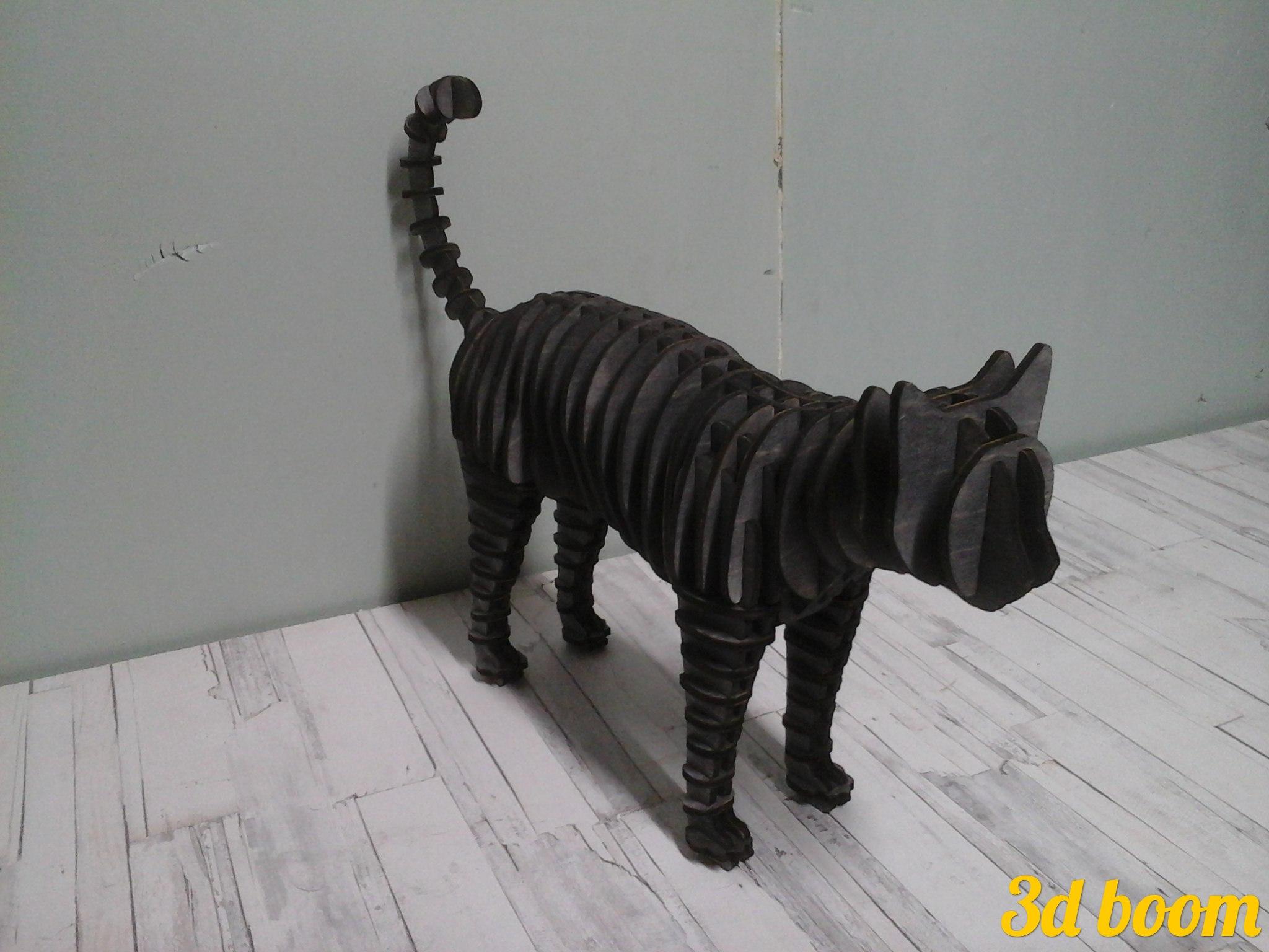 Cat Standing 3d Puzzle Laser Cut 4mm Free CDR Vectors Art