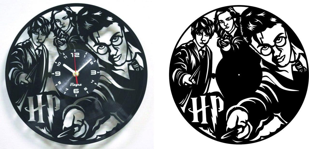 Harry Potter Vinyl Record Clock Pair Free DXF File