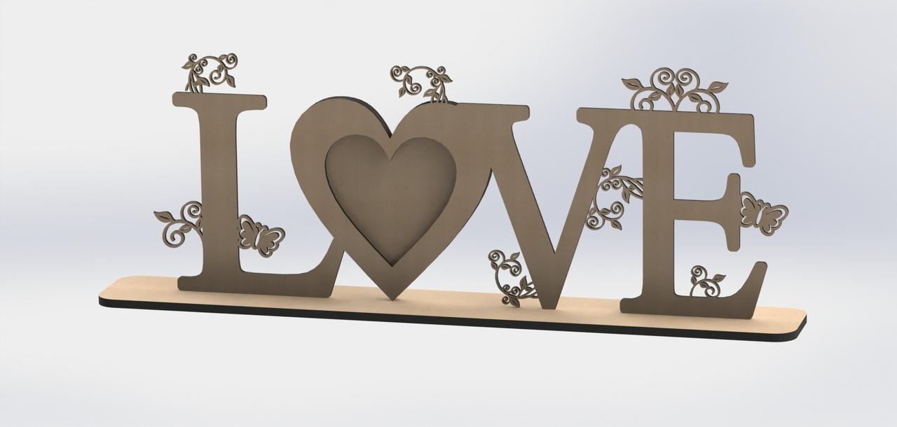 Laser Cut Love Frame Design Free DXF File