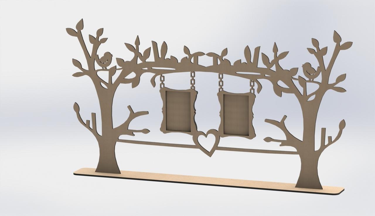 Laser Cut Photo Frame Tree Free DXF File