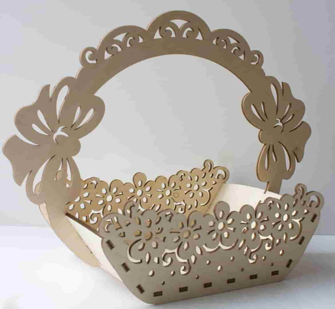 Laser Cut Basket Wooden Free CDR Vectors Art