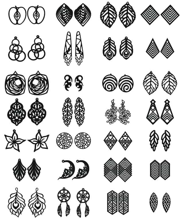 Laser Cut Earrings Jewelry Templates Free CDR Vectors Art