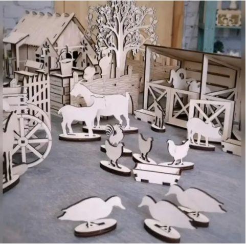 Laser Cut Wood Farmhouse Toy Free CDR Vectors Art