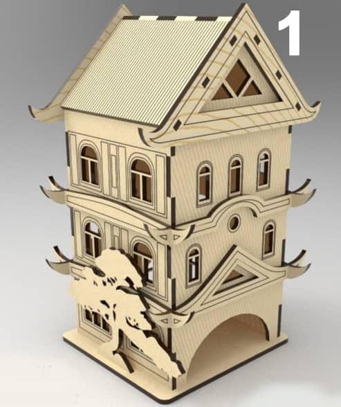 Laser Cut Wooden House 3d Model Free CDR Vectors Art