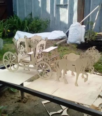 Wedding Carriage Laser Cut Wood Projects Free CDR Vectors Art