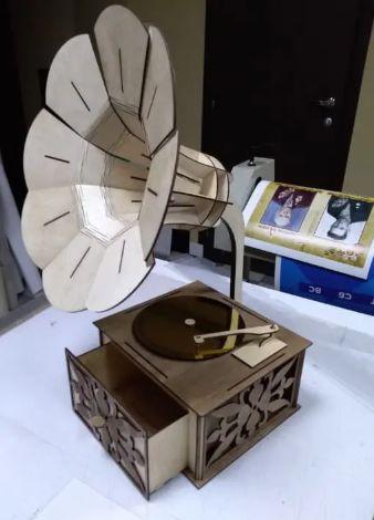Wooden Gramophone Free Laser Cutting Free CDR Vectors Art