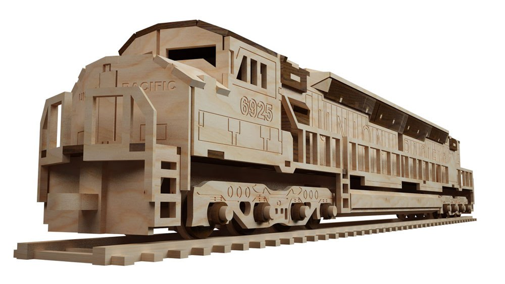 Locomotive Laser Cut 3d Puzzle Free DXF File
