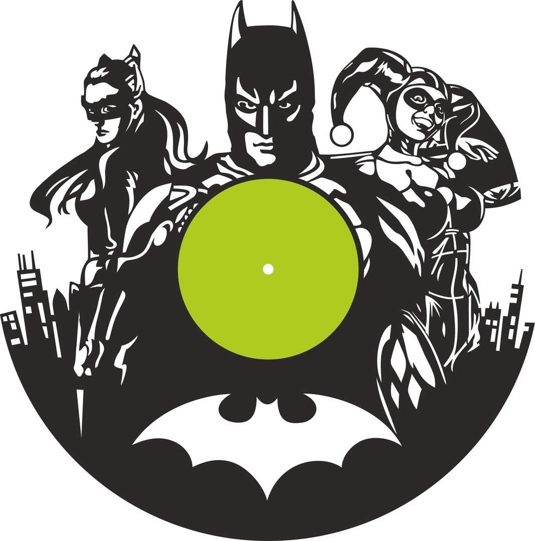 Betman Vinyl Record Wall Clock Laser Cutting Free CDR Vectors Art
