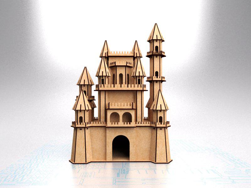 Fantasy Castle Laser Cut Model Free CDR Vectors Art