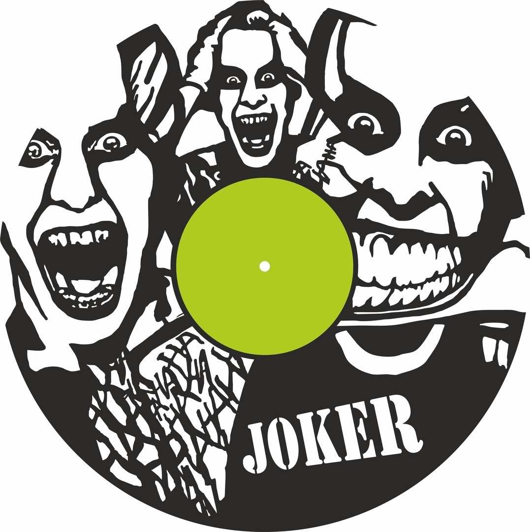 Joker Vinyl Record Wall Clock Laser Cutting Free CDR Vectors Art