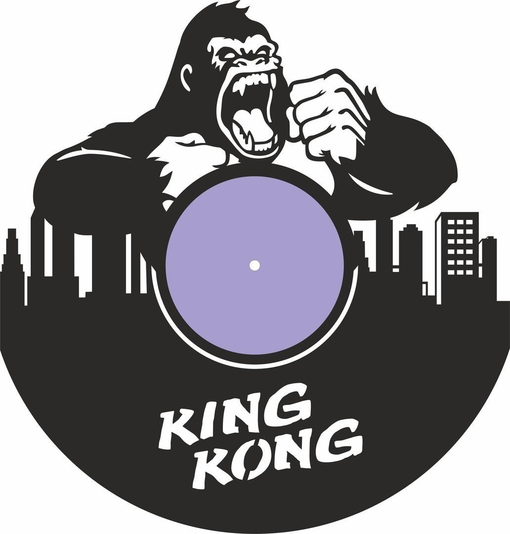 King Kong Vinyl Record Wall Clock Laser Cutting Free CDR Vectors Art