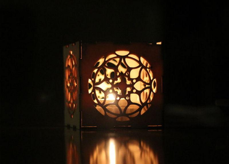 Laser Cut Night Light Box Lamp Template Free CDR Vectors Art