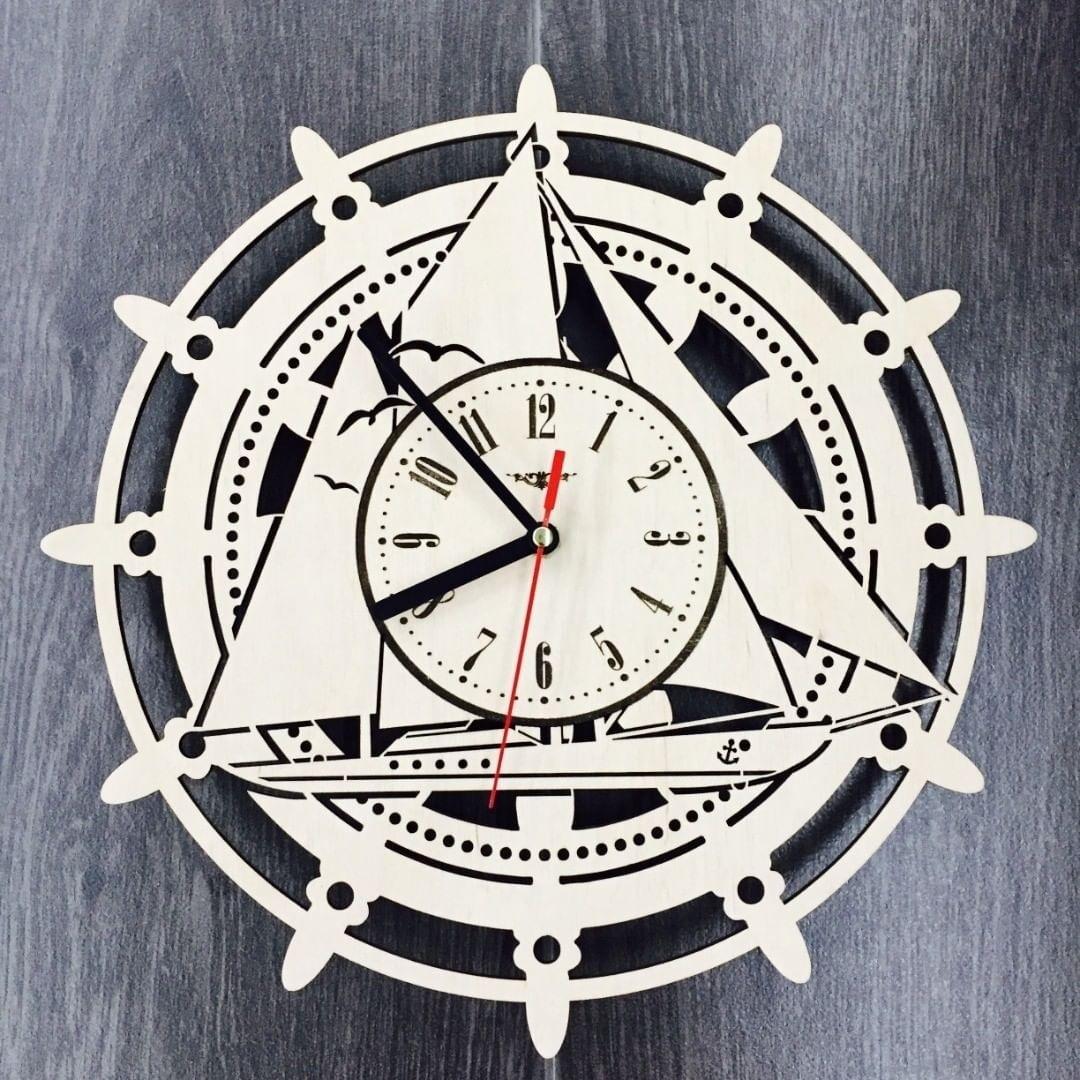 Laser Cut Sailing Ship Wall Clock Free CDR Vectors Art