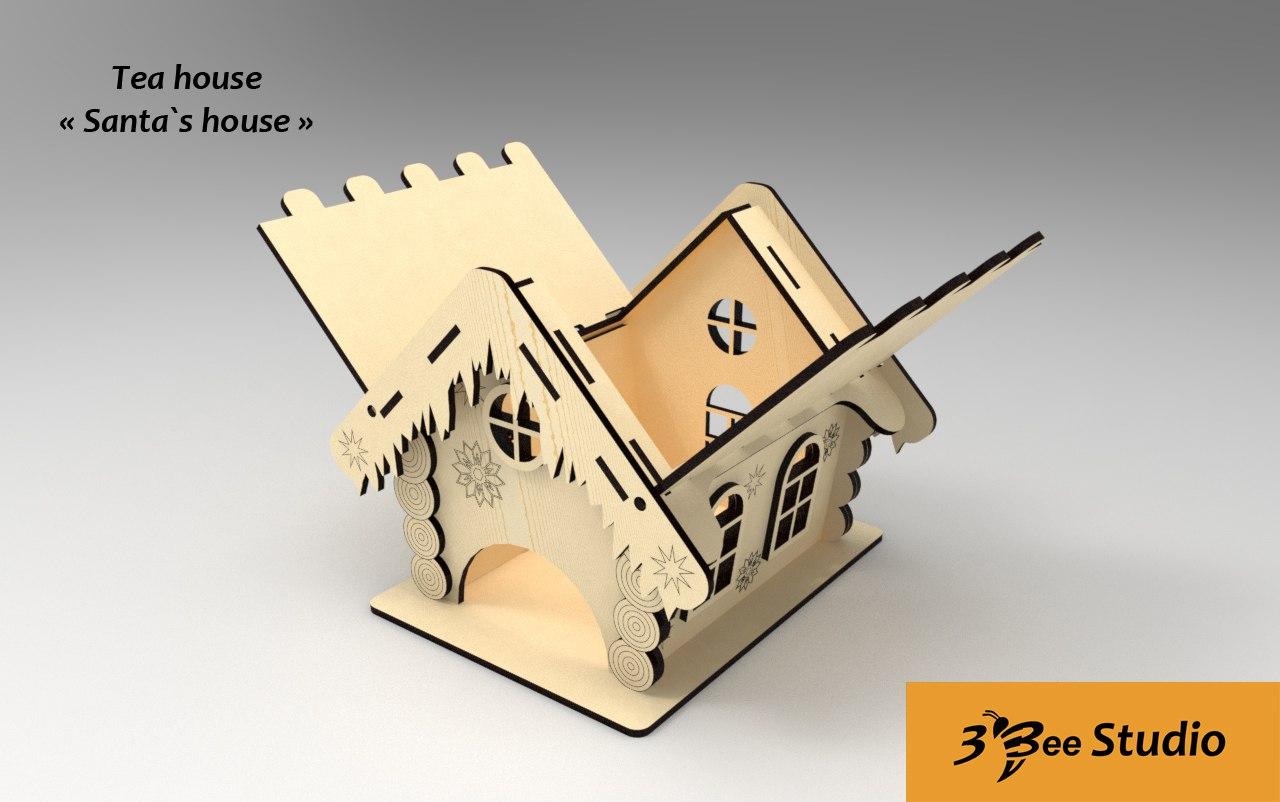Laser Cut Santa Tea House Free CDR Vectors Art