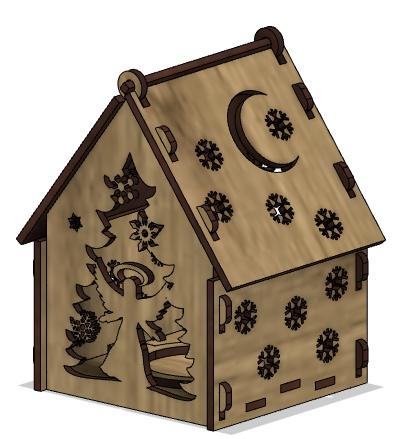 Lasercut Wooden House Model Free CDR Vectors Art