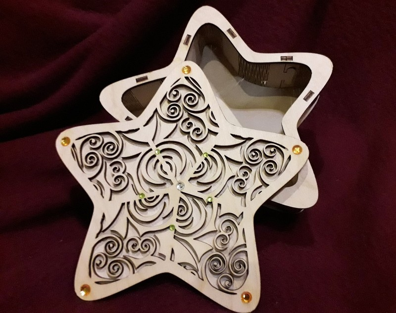 Star Box Model With Cover Cut For Laser Cut Free CDR Vectors Art