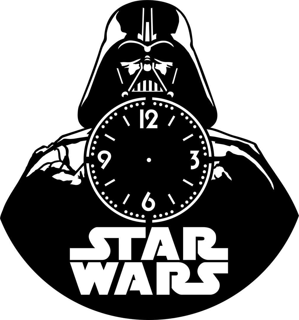 Star Wars Vinyl Record Wall Clock Laser Cutting Free CDR Vectors Art