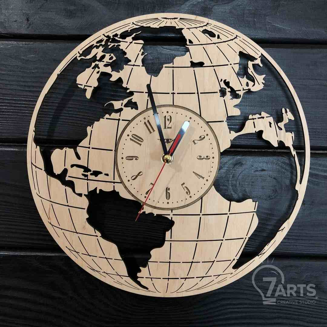 Laser Cut World Shaped Clock Puzzle Free DXF File