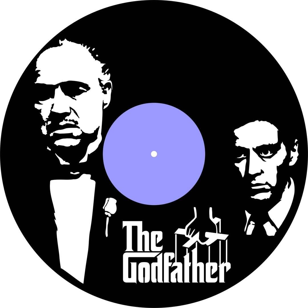 The Godfather Vinyl Record Wall Clock Laser Cutting Free CDR Vectors Art