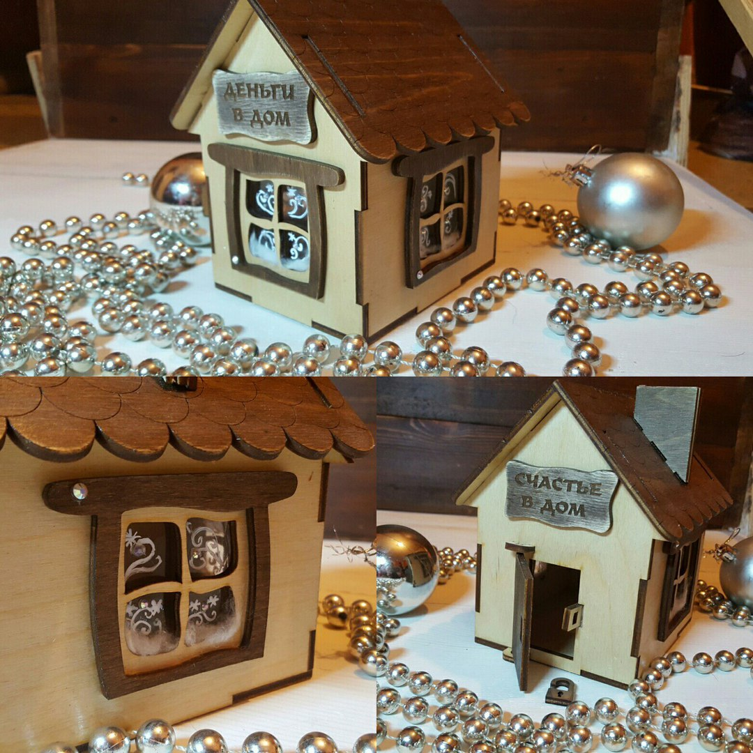 Wooden House Plywood Laser Cut Template Free CDR Vectors Art