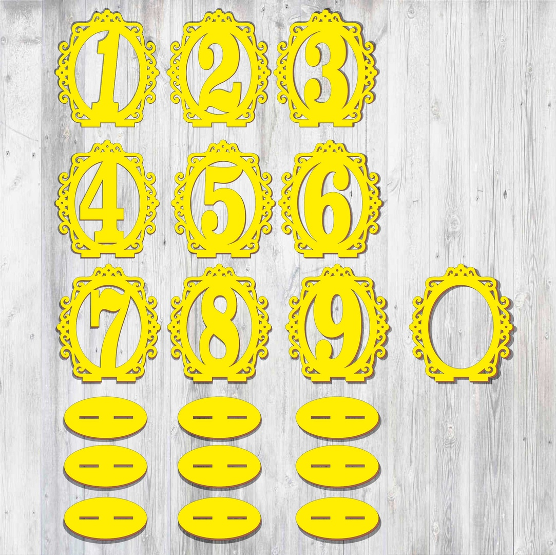 Laser Cut Wooden Table Numbers Template Free CDR Vectors Art