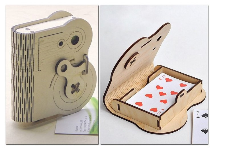 Playing Cards Wooden Box With Rotary Latch Free CDR Vectors Art