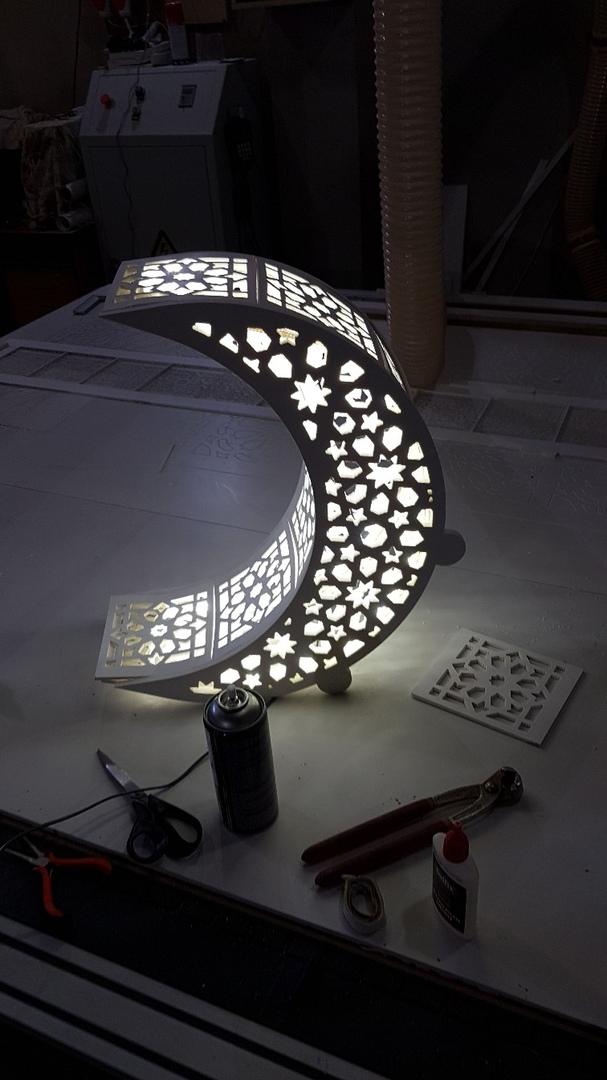 Laser Cut Moon Shaped Night Light Lamp Free DXF File