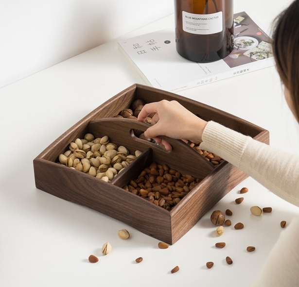 Laser Cut Wood Tray With Handle Snacks Dry Fruit Box Candy Dish Creative Tray Fruit Plate Free DXF File