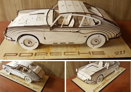 Laser Cut Porsche 911 1964 Wooden Model 3mm Free CDR Vectors Art