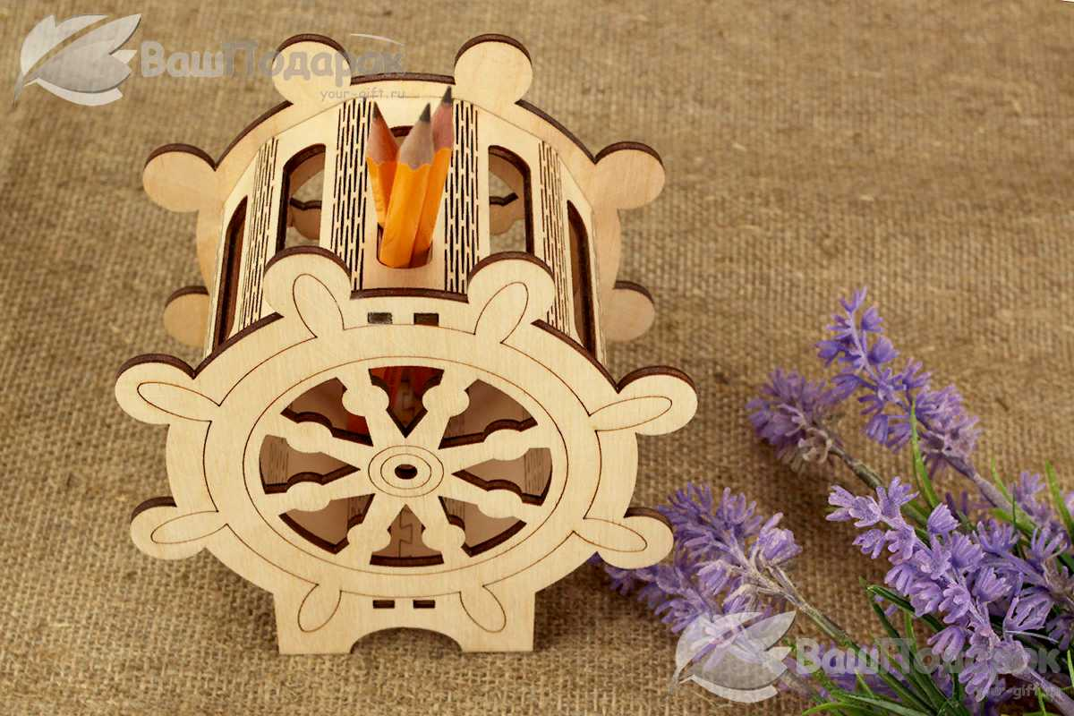 Laser Cut Ship Wheel Nautical Pen Holder Free CDR Vectors Art