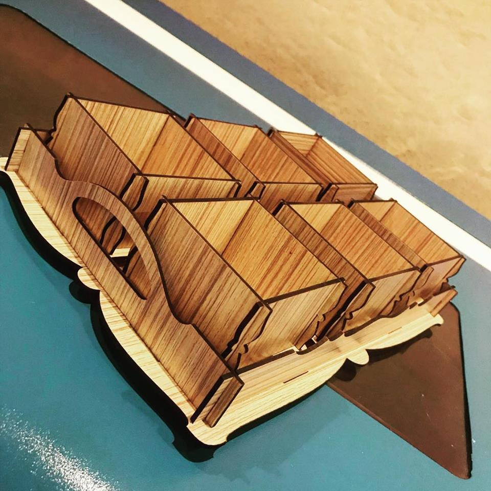 Laser Cut Tray With Boxes Free CDR Vectors Art