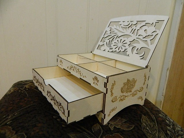 Laser Cut Wood Box With Drawers Free CDR Vectors Art