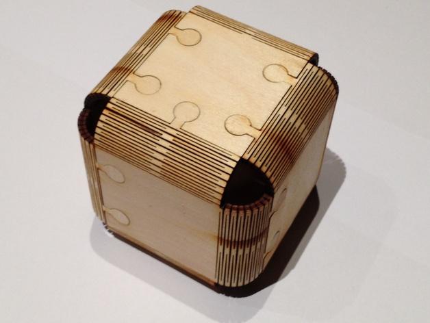 Foldable Wood Cube Laser Cut Free DXF File