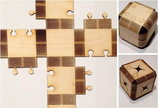Laser Cut Foldable Wood Cube Free DXF File