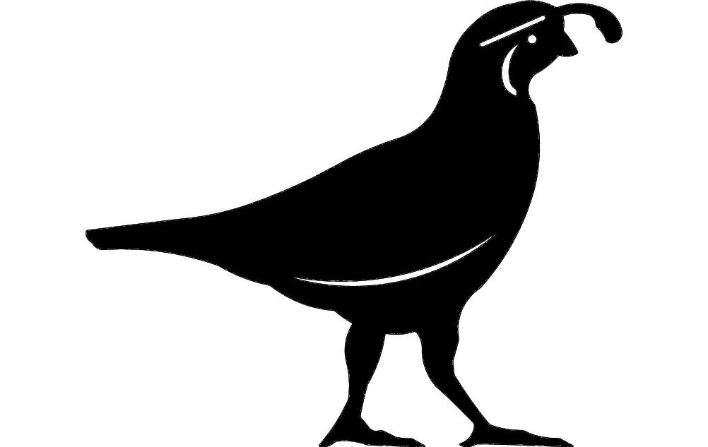 Quail Bird Silhouette Free DXF File