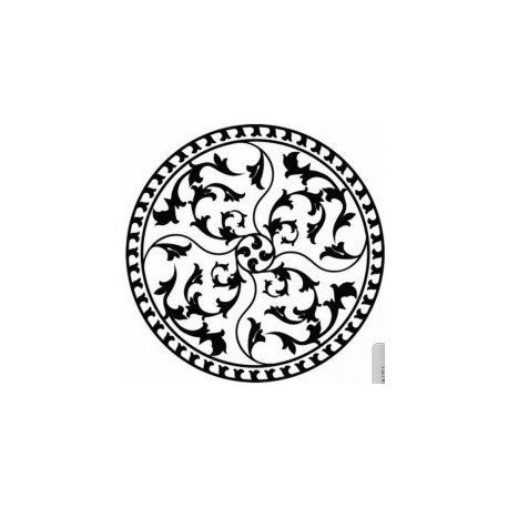 Round Floral Pattern Art d22 Free DXF File