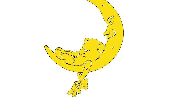 Silhouette Decorative Moon For Kids Rooms Free DXF File