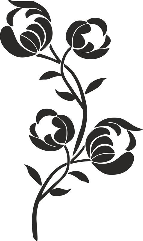 Silhouette Flower Stencil Free DXF File