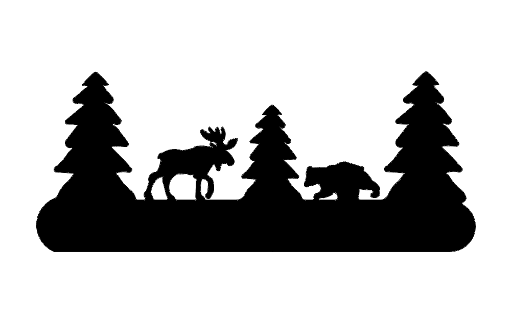 Tree Moose And Bear Silhouette Free DXF File