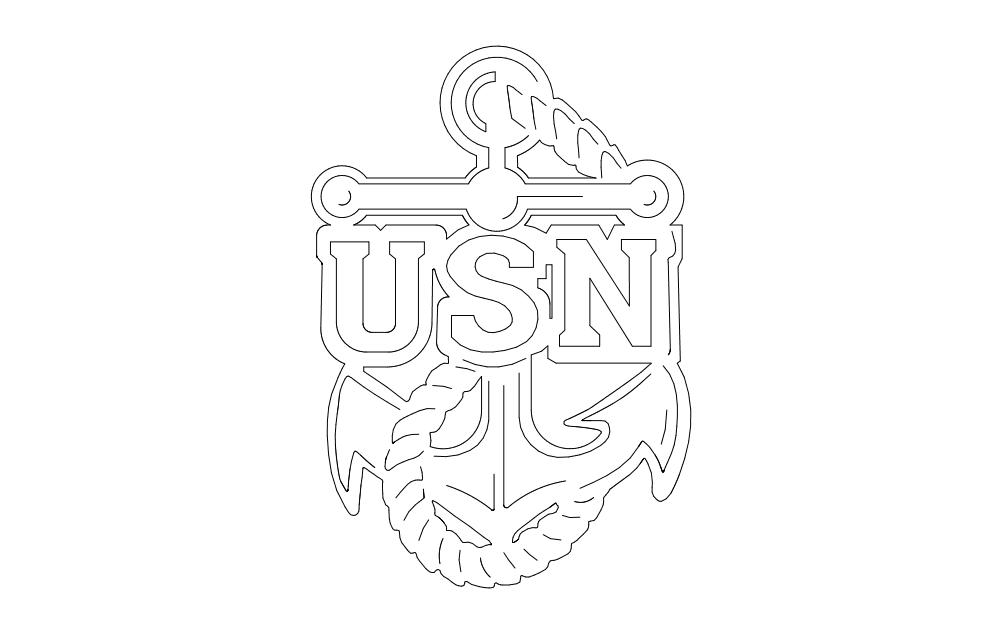 Usn Anchor Logo Free DXF File