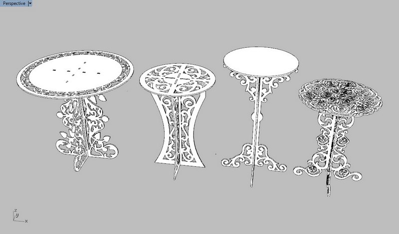 Decor Tables Collection Free DXF File