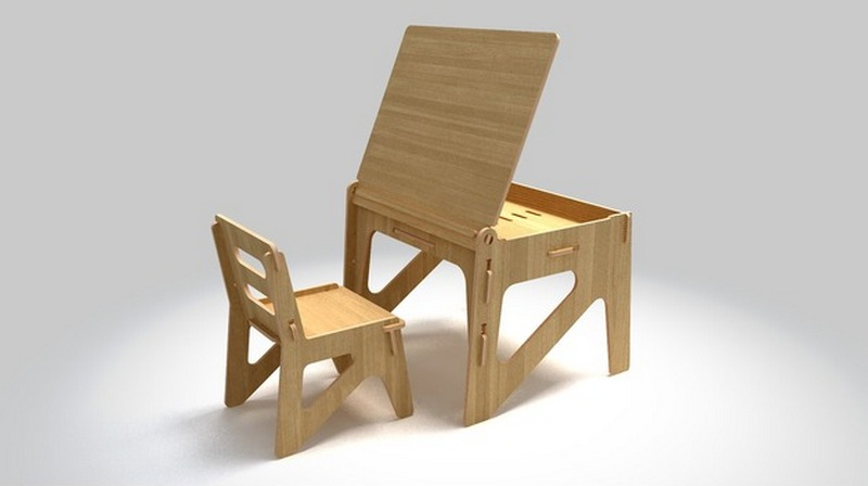 Kid Desk Table Chair Free DXF File