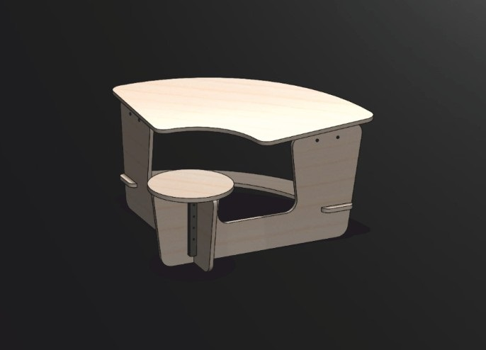 Kids Table And Chair Free DXF File