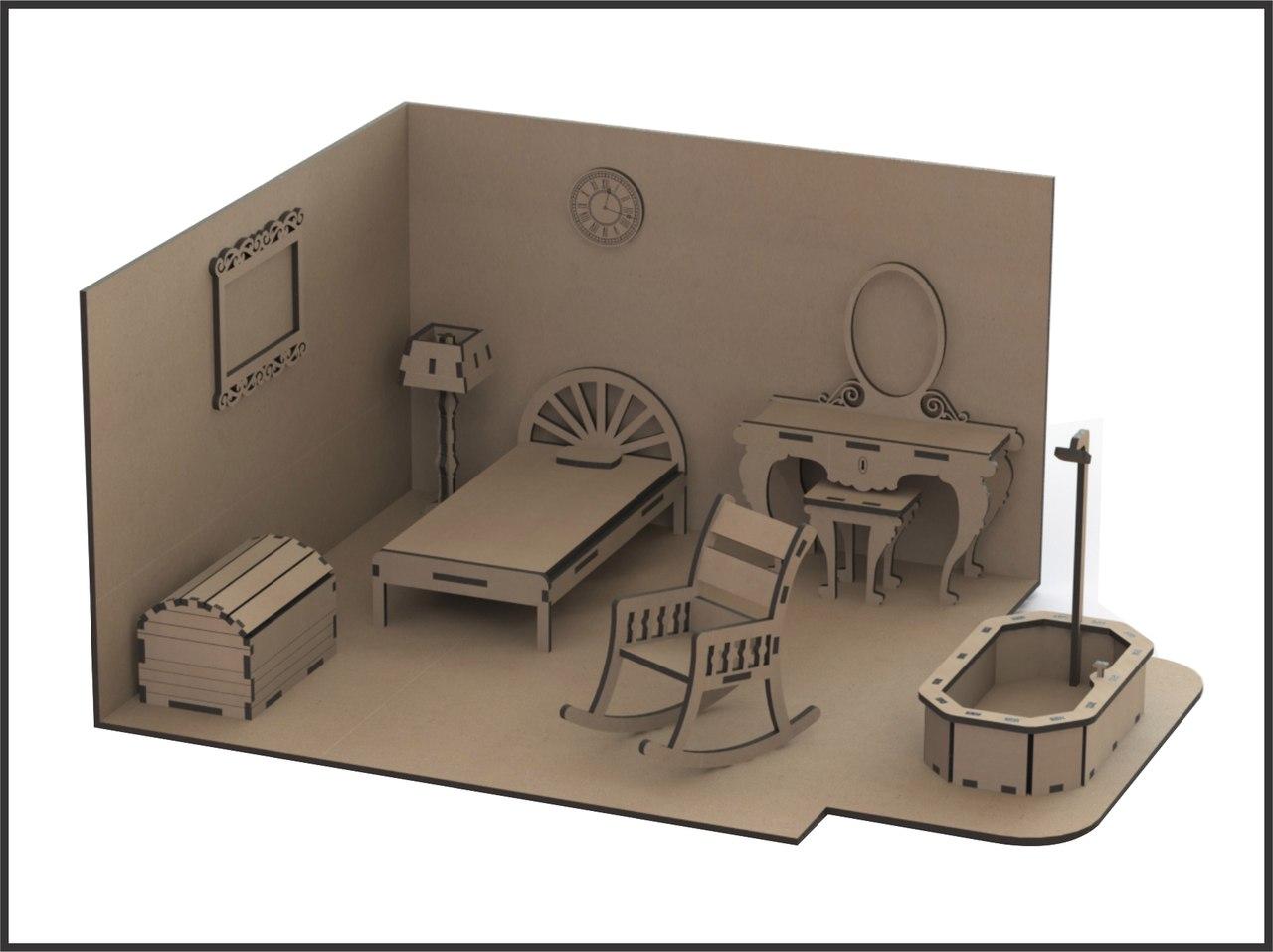Laser Cut Miniature Dollhouse Furniture Free DXF File
